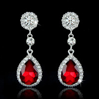 Wholesale Crystal Dangle Earrings Wholesale - Drop Earrings Brand Fashion Crystal Jewelry Big Platinum Plated Dangle Water Drop Earrings For Women Dangle Chandelier Ear Rings Ear Drops