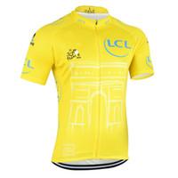 sarı dağ bisikleti toptan satış-SıCAK 2015 Tour DE Fransa şampiyonu sarı Bisiklet formalar Ropa Ciclismo / kısa kollu bisiklet jersey / Dağ Yarış Bisikleti Bisiklet Giyim