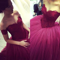 Wholesale champagne sweetheart neckline prom dress for sale - Group buy 2018 Vintage Backless Puffy Prom Dresses Off Shoulder Sweetheart Neckline Ball Gown Burgundy Lace Tulle Plus Size Evening Gowns