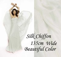Wholesale Silk Fabric Meter - Solid Color Off White Gorgeous 100% Pure Silk Soft Sheer Chiffon Fabric 6 momme for By The Meter ( 1 Yard 3 inches) alpc-3