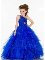 ingrosso abito da festa su ordine della ragazza-2015 Custom Made Royal Blue Liste Carino Principessa Halter Piano Lunghezza Ball Gown Flower Girl Abiti Pageant Abiti ragazze Occasionale formale