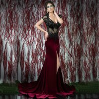 Wholesale Backless Lace V Neck - Burgundy Mermaid Evening Dresses Long Lace V Neck Cap Sleeve Backless Slit Transparent Lace Evening Gown Party Prom Dreses E11125