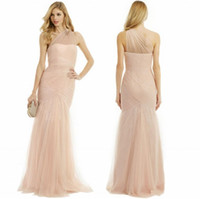 Wholesale Monique Lhuillier Lace - 2015 Sexy Mermaid Bridesmaid Dresses Sheer Neck One Shoulder Sweep Train Monique Lhuillier Lace Evening Gown Formal Prom Maid of Honor Dress