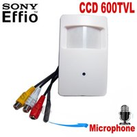 Wholesale Wired Pir Detector - 600TVL Pir Motion Detector Camera with Microphone Sony CCD Security Indoor CCTV Mini PIR Style pir camera mini hidden