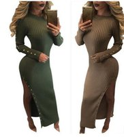 autunno nuove donne Knit Sweater Bodycon Gold Button Detail Khaki Split Long Maxi Dress Fashion Club sexy vestito a maglia