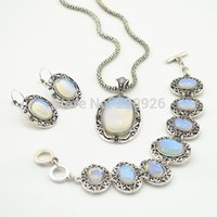 Wholesale S002 Necklace Earring Bracelet Jewelry Set Water Drop Transparent Opal Stone Vintage Look Tibet Antique Silver Plated