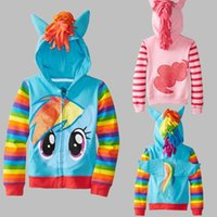 Wholesale Little Girls Fashion Clothes - Retail New 2015 Fashion Girls Big Size Children Outerwear My little Pony Jackets Coat Hoodies Clothing Roupas Infantil in stock