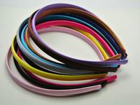 Wholesale Plastic Headbands Cover - 10 Mixed Color Plastic Headband Covered Satin Hair Band 9mm for DIY Craft