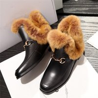 Wholesale Wedge Snow Boots For Women - Wholesale- 2016 Ankle High Fur Boots For Women Fashion Snow Boots Shoes European Chelsea Booties New Design Winter Warm Metal Boots A6861