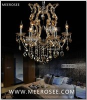 Wholesale Led Maria Theresa Chandelier - Cognac chandelier crystal light with K9 crystal maria theresa style Glass chrystal lighting fixture MDS06 L6 fast shipping