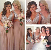 Wholesale Red Sparkle Bridesmaid Dresses - V-neck Sequined Silver Champagne Bridesmaid Dresses A-Line Ruffled Chiffon Formal Party Dresses Sparkling Beaded Long Maid Of Honer Gowns