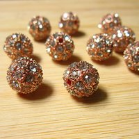 Wholesale Wholesale Gold Disco Ball - 20PCS Rose Gold Metal Shamballa Bracelet Pave Disco Ball Loose Charms Metal Rhinestone Beads Spacer Findings Fashion Jewelry D530