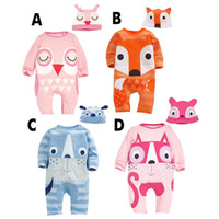 Wholesale Owl Baby Hat Pattern - 2018 cute baby rompers+hats newborn animals jumpsuits cartoon fox owl printed pattern cotton long sleeve suits suitable 12M-3T