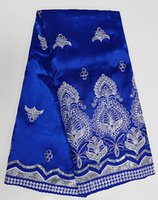 Wholesale Swiss Lace Yard - Royal blue Silver African George Lace Fabric African Swiss lace with Lots Of Sequins 5 Yards  pc