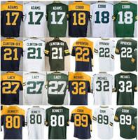 Wholesale Football Brett Favre - 17 Davante Adams 18 Randall Cobb 21 Ha Ha Clinton-Dix 27 Eddie Lacy 80 Martellus Bennett 89 Jared Cook 4 Brett Favre Jersey