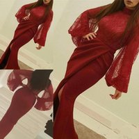 Wholesale New Dark Red High Neck Arabic Evening Dresses Long Sleeves Lace Appliques Front Split Evening Party Gowns