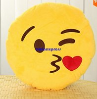 Wholesale Cute Lovely Emoji Smiley Pillows Cartoon Facial QQ Expression Cushion Pillows Yellow Round Pillow Stuffed Plush Toy Christmas party gift