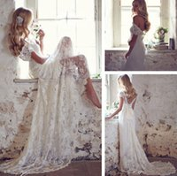 Wholesale Lace V Neck Bridal Gown - 2016 Elegant Beach Wedding Dresses Beaded Cap Sleeve V-Neck Court Train Lace Bridal Gowns Matched Bow White Ivory Custom Made New W2001
