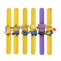 2015 New 3D Eye Despicable Me Snap Mr minion montres Enfants Kids Slap Snap On Silicone Quartz Montres-bracelets