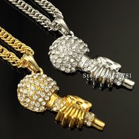 Wholesale Microphone Necklace Jewelry - Hot hip hop Jewelry rap silver retro crystal long body chain hand holding microphone pendent necklace best party gift N095