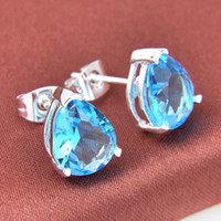 Wholesale Blue Topaz Drop Earrings - Bulk 3 Pairs   Lot Classic Drop Sky Blue Topaz Gemstone 925 Sterling Silver USA Drop Wedding Earrings