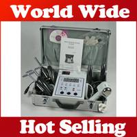 Wholesale Galvanic Salon Facial - Suitcase Easy portable Microcurrent Bio Face Lift beauty device Salon Skin Toning Facial care Bio hot cold hammer Galvanic Set machine