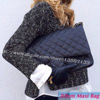 Wholesale double shoulder - 6 Colors Classic 33CM Black Genuine Caviar Leather Maxi Bags 58601 XLarge Caviar Quilted Double Flaps Shoulder Chain Bags Women's Handbag