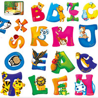 Wholesale Named Wall Stickers - Cartoon English Letters for Decoration Removable Wall Stickers for Kids Rooms Alphabet Mural Quotes Names Mixable Free Shipping
