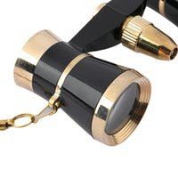 Wholesale Black x25 Glasses Coated Binocular Telescope Theater Opera glass lady glass with Gold Trim Necklace Chain Brand New