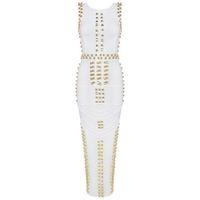 robe moulante blanche kim kardashian achat en gros de-En gros-Top Qualité Nouvelle Arrivée blanc sans manches clouté perlée longue maxi rayonne Bandage Robe Celebrity robe kim kardashian robe