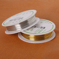 Wholesale Rolls Silver Wire - 20rolls lot (approx 3mts roll) Diameter 0.3mm 0.4mm 0.5mm 0.6mm 0.8mm Gold Silver Stainless Copper Beading Wire Fit Necklace Bracelet