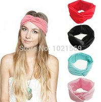 Haut Twist Femmes Coton Turban Knot Head Wrap Bandeau noué Twisted Band cheveux