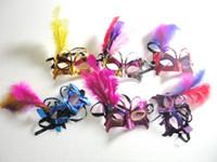 kelebek top maskesi toptan satış-Kelebek Tüy Maskeleri Masquerade Ball Maskeleri Venedik Karnavalı Maskeleri Şenlikli Parti Malzemeleri 12 adet