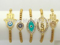 Wholesale Stacking Jewelry - 2014 Fashion High Quality Real Gold Hematite Bead Jewelry, Stacking Elastic Infinity Bracelet, Mix styles for Hamsa, Evil Eye