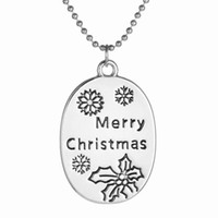Wholesale Merry Christmas Pendant - Hot 10Pcs New European Creative Personality Simple Wild alloy Necklace Merry Christmas Snowflake English Pendant Necklace