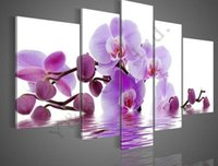 Wholesale One Piece Combination - Hand Painted 5 Piece Set Camellia Flower Oil Painting On Canvas Modern Home Wall Decoration Art Picture For Living Room Sale