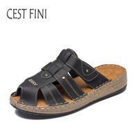 Wholesale canvas slippers for men - CESTFINI Summer Women Slippers Leather Ladies Shoes Fashion Open Toe Retro Slides For Women #SL001