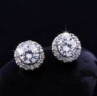 Wholesale Romantic Jewelry Luxury Stud Earrings For Wedding Elegant mm Real Platinum Plated AAA Swiss Cubic Zirconia Diamond Earring