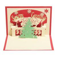Wholesale kirigami christmas tree - 100PCS Handmade Christmas Tree Design Merry Christmas Cards Creative Kirigami & Origami 3D Pop UP Greeting Card for Kids Friends