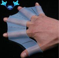 luvas flipper nadar venda por atacado-Material de silicone de rog palm barbatanas de natação para as mãos marinheiro palmeira palmilha peixe voador webbed luvas de barbatanas