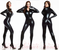 5c19b818b9 Wholesale sexy black leather catwoman for sale - Sexy Lingerie Black  Catwoman False Leather Wetlook Jumpsuit