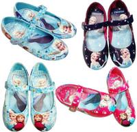 Wholesale Dress Shoes For Little Girls - Frozen Elsa Princess Shoes for Girls Size 25-30 Blue pink black Little Girl Frozen girl Princess Shoes For Frozen Dresses