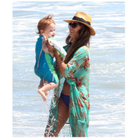Wholesale Fringe Swimming Suits - Jessica Alba Celebrity Womens Fringe Floral Chiffon Boho Swim Swimming Suit Covers Beach Wear Sexy Long Swimsuit Cover Up beach cover-up
