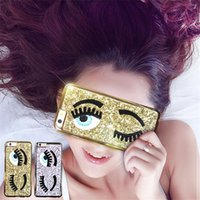 Wholesale Bling Iphone Big - Glitter Powder Fashion Chiara Ferragni Bling Big Eyes Eyelashes Plating Phone Case For iphone 5s 6 6plus Back Cover