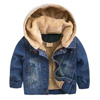 Wholesale Kids Denim Jeans Boys - Baby boys clothes Children thickened denim jacket Winter cotton Kids jeans casual outerwear Jackets for baby