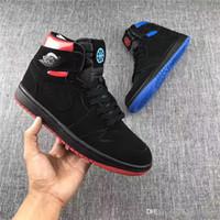 Wholesale Quai 54 - 2017 Release Air Retro 1 Retro High OG Quai 54 Black Red And Bule Men Basketball Sneakers Original Sports Basketball Shoes With Box