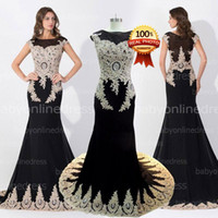 Wholesale Water Week - New Fashion Custom Amazing Black Crystal Prom Evening Dresses Sheer Neck Appliques Beads 100% Real Photos Wedding Gowns 2015 Arabic India