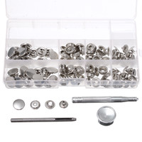 Wholesale Fastener Studs - 120Pcs 15mm Heavy Duty Silver Snap Fastener Press Studs Button With Tool