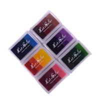 almohadilla de entintado al por mayor-Al por mayor-1PCS 4 Color Hecho en casa bricolaje color gradiente almohadilla de tinta Multicolor Inkpad sello Decoración Fingerprint Scrapbooking accesorios