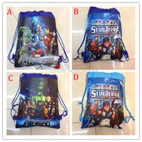 Wholesale Woven Drawstring Backpack Wholesale - Children the avengers backpacks 2015 NEW Avengers: Age of Ultron boy non-woven drawstring bags boy school bags 4 style B001